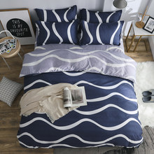 Plaid stripes bedding set Modern business fashion Good quality duvet cover quilt cover bed sheet pillow cases Wavy line pattern(China)