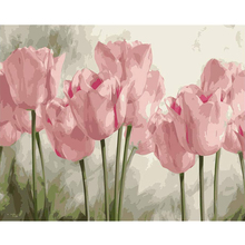 FSBCGT Oil Painting By Numbers Kits Flowers Pink Tulips Hand Painted For Adults Canvas Art Paint By Number DIY Gift Home Decor