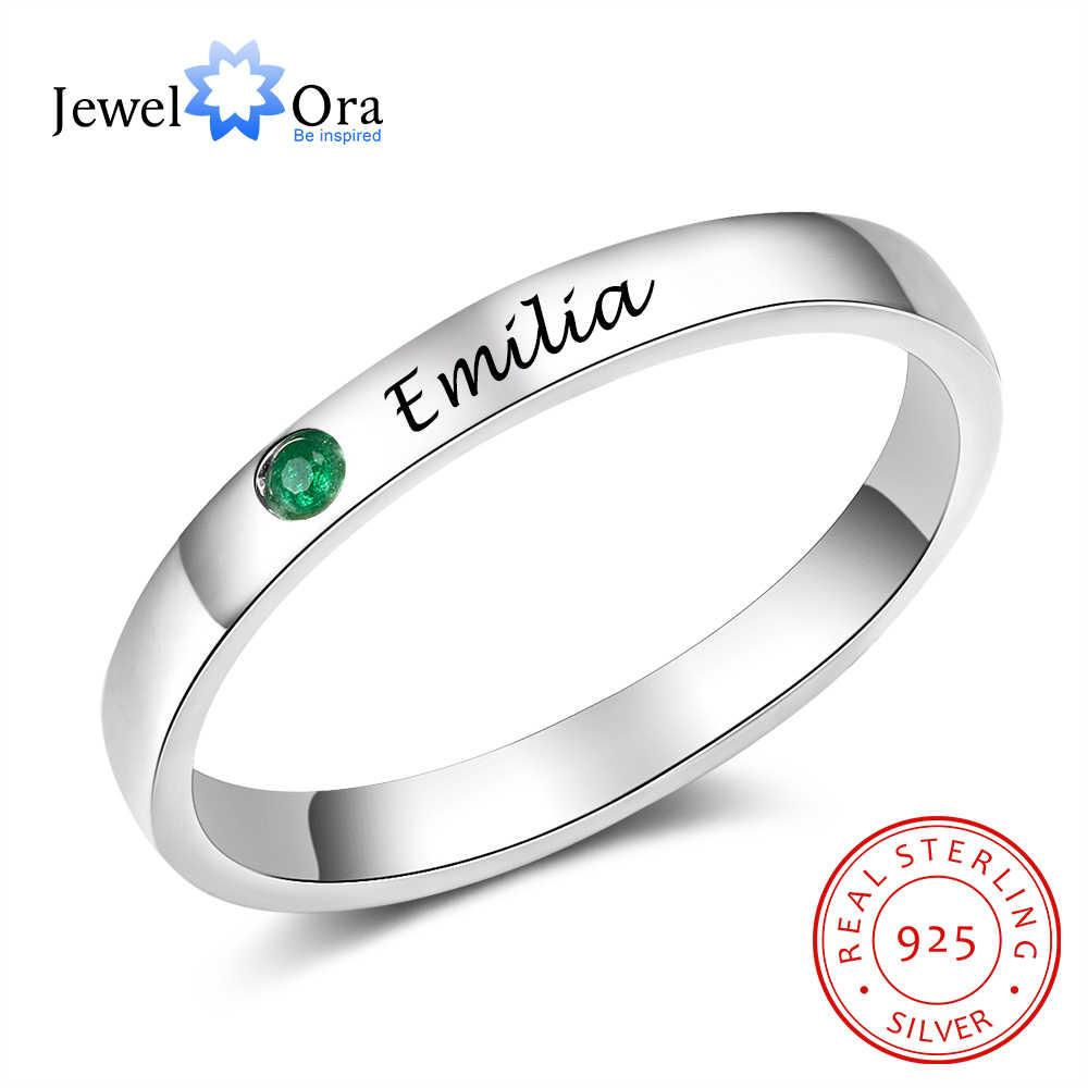 JewelOra 925 เงินสเตอร์ลิงส่วนบุคคลชื่อแหวน Birthstone CUSTOM ชื่อแกะสลักเงิน 925 แหวนสำหรับเครื่องประดับ