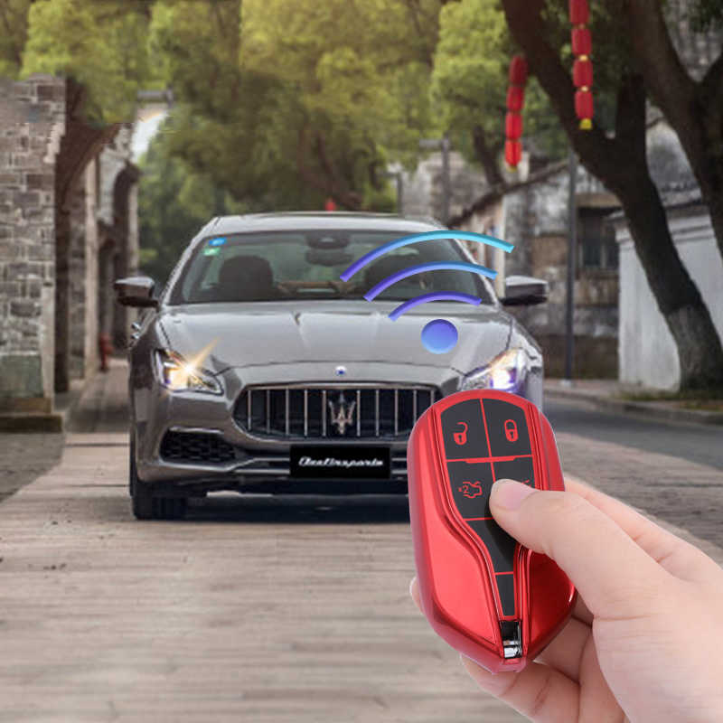 Levante Remote Start, Brown Quattroporte Vitodeco Genuine Leather Keyless Smart Key Fob Case Cover with Key Chain for Maserati Ghibli