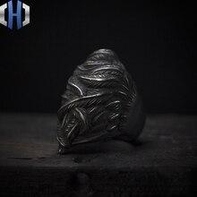 Original Design Handmade Silver Dark 925 Black Dream Ring Punk Feather Men And Women