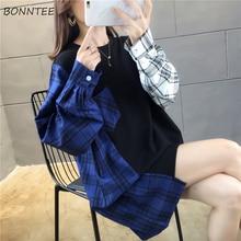 Женская толстовка с круглым вырезом, простая универсальная клетчатая Толстовка в Корейском стиле Харадзюку, Модный пуловер в стиле хип хоп для девушек, Свободный пуловер