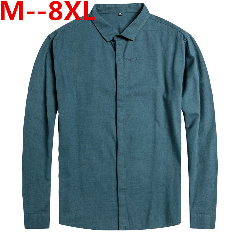 Plus Size 10XL  8XL  6XL 5XL 4XL New Autumn Solid Casual Shirts Men Cotton Long Sleeve Loose Fit Fashion Classical Male Clothing