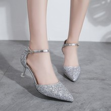 Silver Gold Pumps Women Shoes Pointed Toe Sequin Stiletto High Heels Summer Women Shoes Ankle Strap High Heel Sandals Women fashion design women full grain leather pumps summer ankle wrap cool high heels shoes for women closed toe women sandals