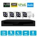 H.265 4CH 5MP POE CCTV система безопасности комплект Открытый 1080P водонепроницаемый NVR P2P IP Cam HDD аудио камера видеонаблюдения камера