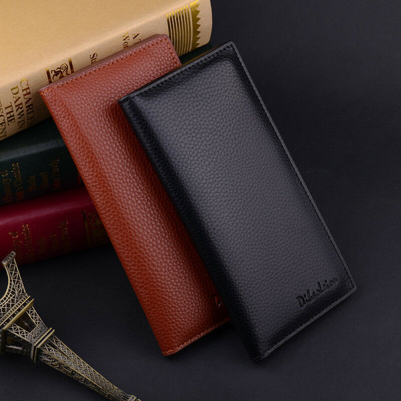 Men's Bifold Leather Multi Credit Card Holder Checkbook Purse Long Wallet Clutch