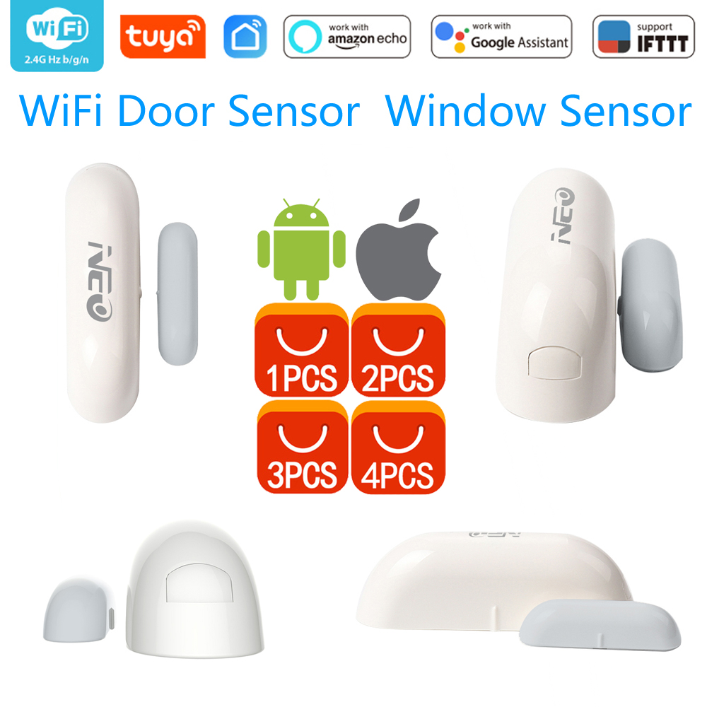 1/2/3/4pcs/lots NEO COOLCAM WiFi Smart Door Sensor  Window Sensor App Notification Alerts Home Security Door/Window Detector