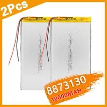 2 batteries lipo rechargeables 3.7V 8873130 10000 mah, batterie lithium polymère pour tablette DVD GPS jouets électriques
