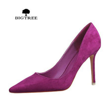 Women Pumps Shoes Suede High-Heels Pointed Purple Sexy Fashion Singles OL Flock Classics