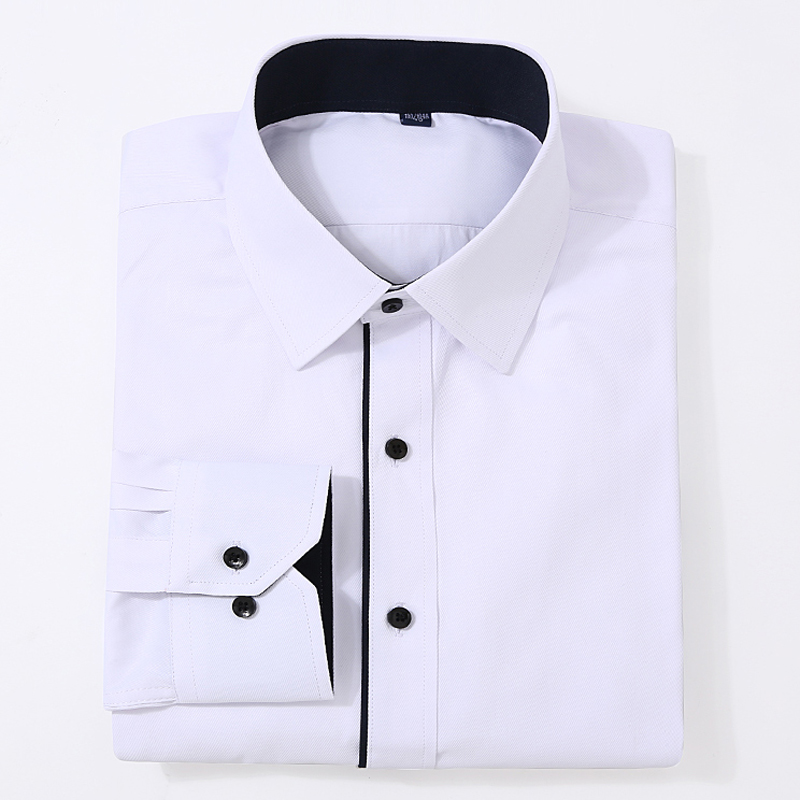 Men's Classic Basic Design Long Sleeve Formal Shirts White Business Standard-fit Twill Easy-care Male Social Office Dress Shirt