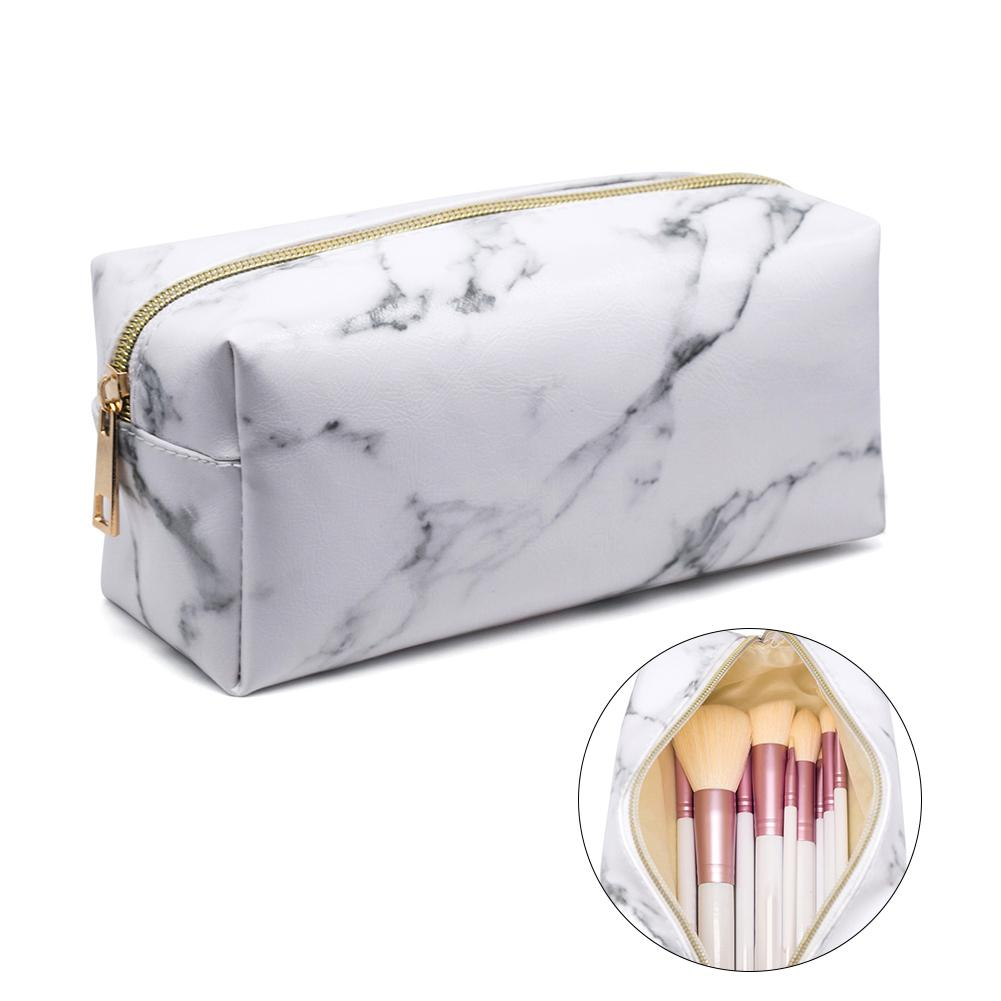 Neceser Marble Grain Makeup Bag Travel Portable Waterproof Makeup Cosmetic Pouch Bag Zip Faux Leather Toiletry Storage Bag