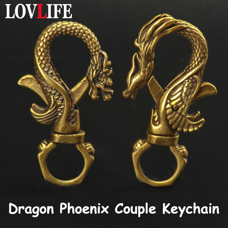 Vintage Brass Dragon Phoenix Couple Keychain Antique Copper Dragon Carabiners Key Chains Men Waist Buckle Car Keys Holder Gifts