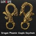 Винтажный латунный брелок для пар Dragon Phoenix, антикварные медные карабины для ключей Dragon, Мужская поясная пряжка, держатель ключей для автомоб...
