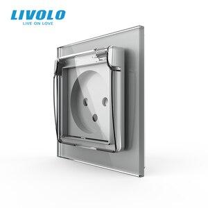 Image 2 - Livolo Israel Standard Steckdose, Kristall Glas Panel, 16A stecker mit Wasserdichte Abdeckung, 3pins stecker