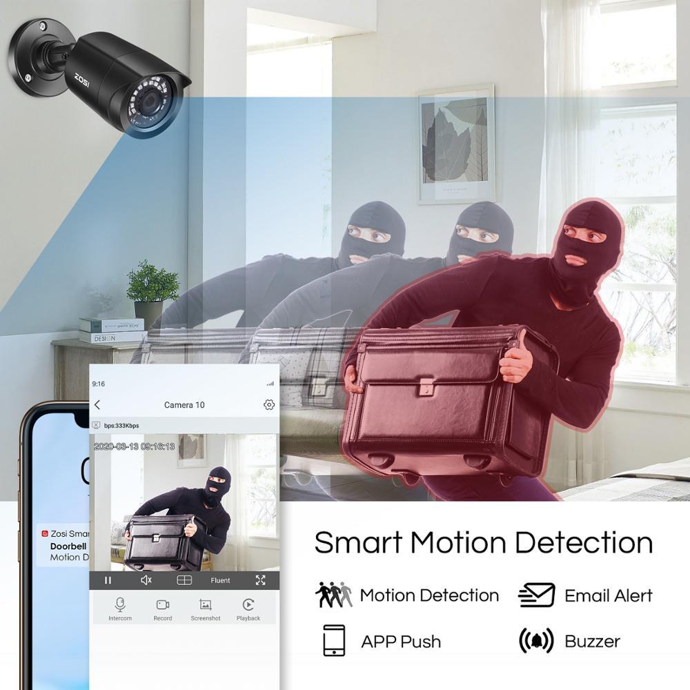 Sistema CCTV ZOSI 8CH 4 Uds. 1080p cámara de seguridad exterior resistente a la intemperie DVR Kit día/noche Sistema de videovigilancia para el hogar - 6