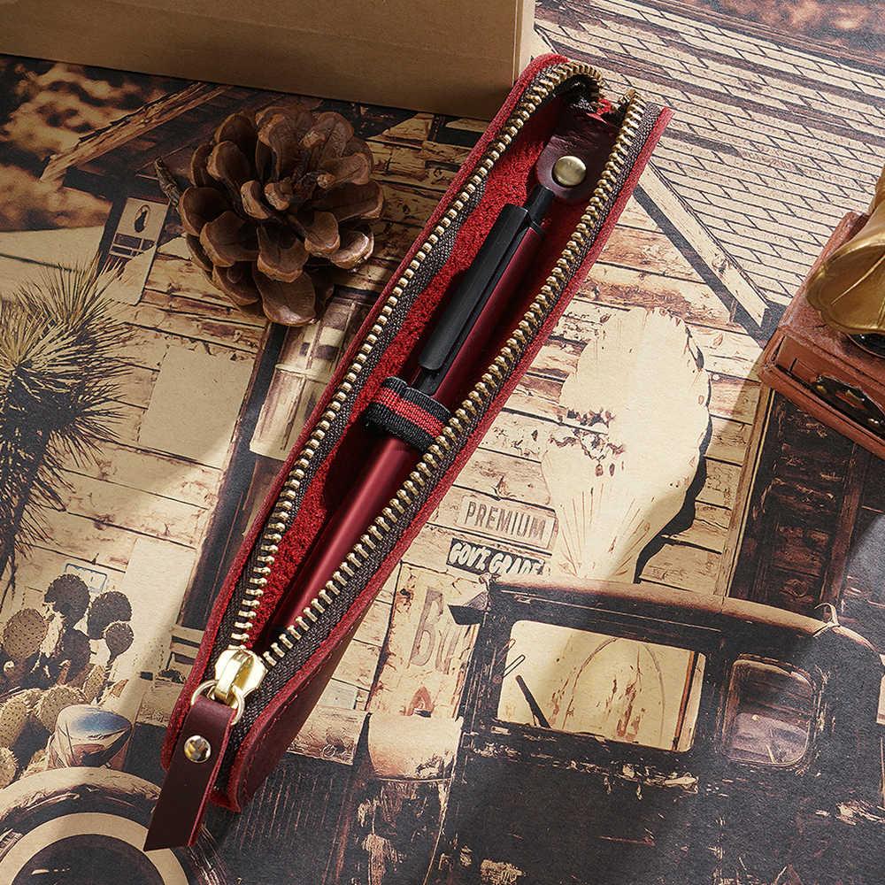 Genuíno Couro Com Zíper Caneta Saco de Mini Pequena Caixa de Lápis Maçã Caneta de Escrita Eletrônica Protetora Bainha Estilo Criativo Do Vintage