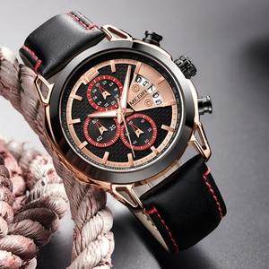 Image 4 - 크리 에이 티브 megir 크로노 그래프 남자 시계 relogio masculino 패션 가죽 석영 손목 시계 남자 시계 시간 육군 군사 시계