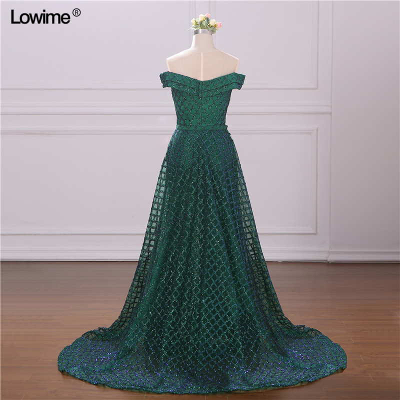 Real Picture Green Middle East Prom Dress Two Pieces Mermaid Glitter Evening Dress Muslim Arabic Party Gowns vestidos de fiesta