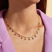 Tocona-gargantilla de piedras de cristal coloridas para mujer, collar de aleación de oro, abalorio de Metal, cadena hecha a mano, joyería 8877