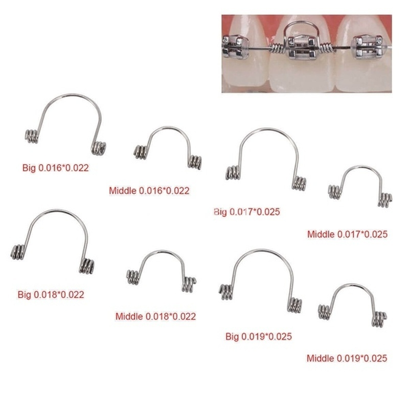NSKLED 10Pcs/bag Dental Orthodontic Torquing Spring Single Anterior Teeth Tooth Torque Spring Stainless Steel
