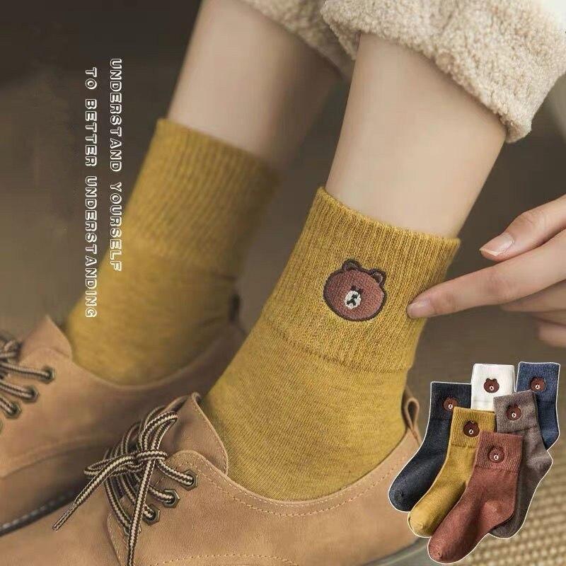 5 Pairs Women Socks Cotton Socks Cute Bear Short Women Socks Female Socks Funny Socks Harajuku Kawaii  Long Socks Flash Sales