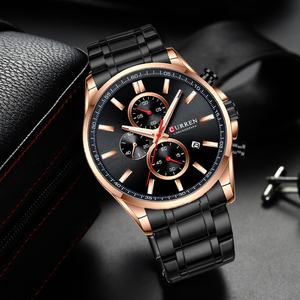 Image 4 - New Curren Watches Mens Brand Fashion Sport Chronograph Quartz Male Watch Stainless Steel Band Date Clock Luminous Pointers
