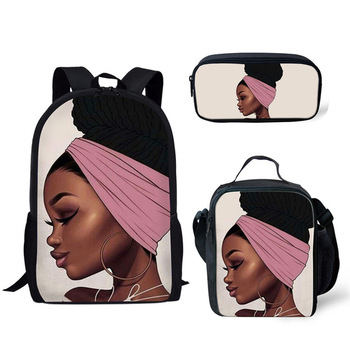 FORUDESIGNS Girls School Bags African Black Girls Hairstyle School Backpack Set Scool Bag For Girl Kids Girl Backpack Junior Bag 22