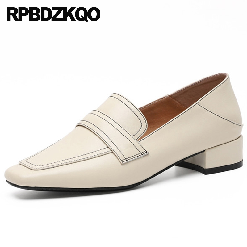 2019 brand loafers women square toe genuine leather designer shoes china slip resistant flats chinese spring autumn on ladies