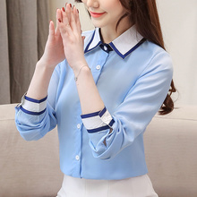 Korean Fashion Chiffon Women Blouses Turn-down Collar Long Sleeve White Women Shirts Plus Size XXL Womens Tops and Blouses women shirts blouses long sleeve turn down collar shirts gradient lady fashion tops