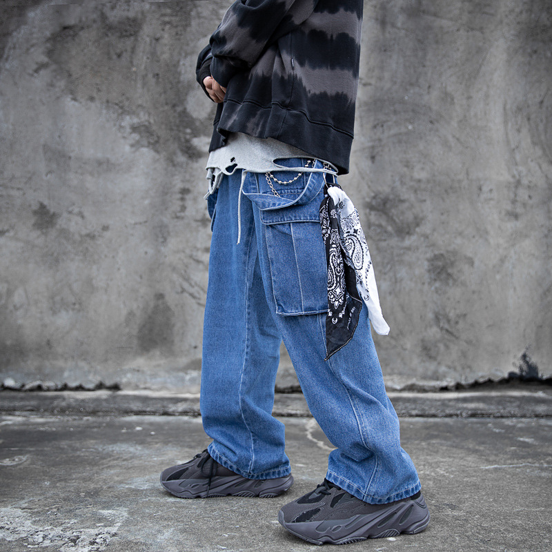 Autumn Japanese-style Solid Color Versatile Large Pocket Retro Loose Straight Jeans Wide-Leg Casual Pants Long Pants Men And Wom