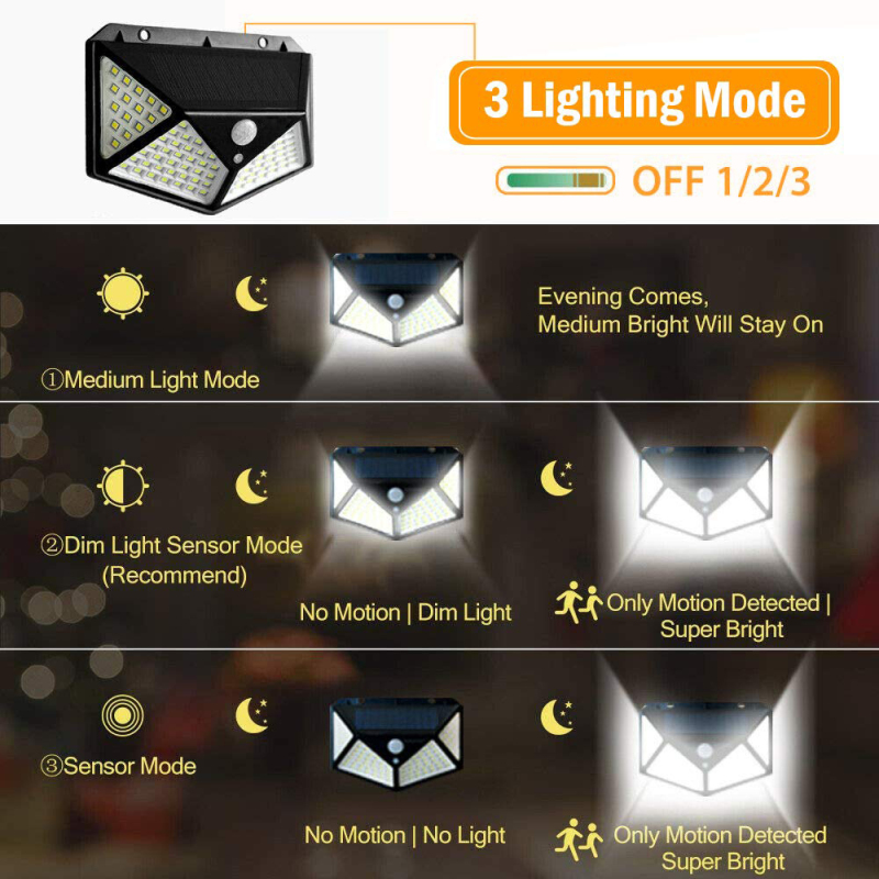 100LED Solar Power Light PIR Motion Sensor Lighting Wall Lamps Waterproof Outdoor Lights Porch Light With Motion Sensor Dropship