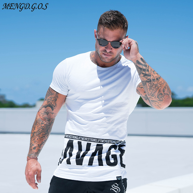 Men Summer Style Fashion Personality T Shirt  Muscle Male Leisure Gyms Short Sleeves Slim Fit Tee Tops Clothing