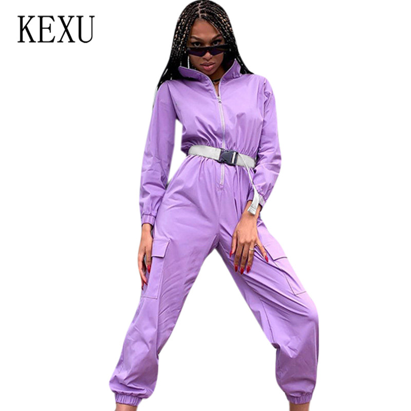 KEXU Women's New Zipper Half Stand Collar Big Pocket   Jumpsuits   with Belt Women Casual Go Out Sport Overalls Purple Playsuits