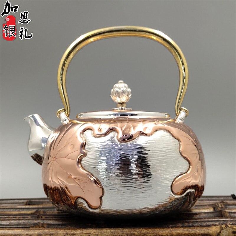 Teapot, stainless steel teapot, silver teapot, hot water teapot, portable teapot 900 ml water, kung fu tea set.