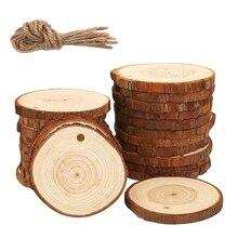 50 шт кусочков натурального дерева, набор для рукоделия из дерева, незавершенный, предварительно Просверленный с отверстием, деревянные круги отлично подходят для творчества и рукоделия на Рождество