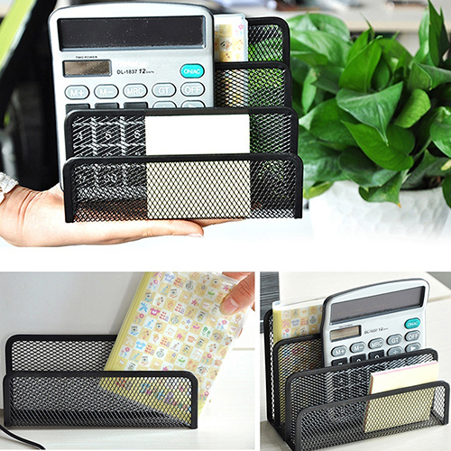 Black Mesh Letter Sorter Mail Business Document Tray Desk Office File Organiser Holder