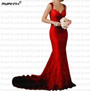 Image 4 - Ryanth זול Vestido דה noiva סקסי גב הפתוח תחרת בת ים שמלות כלה 2019 חוף ארוך רכבת חתונת שמלות Robe De mariage