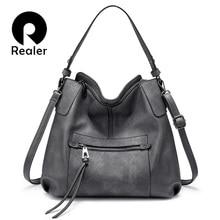 REALER, женская сумка через плечо, Большая вместительная сумка, сумка через плечо, сумки-мессенджеры для женщин,, роскошная сумка, искусственная кожа, серая ручная сумка