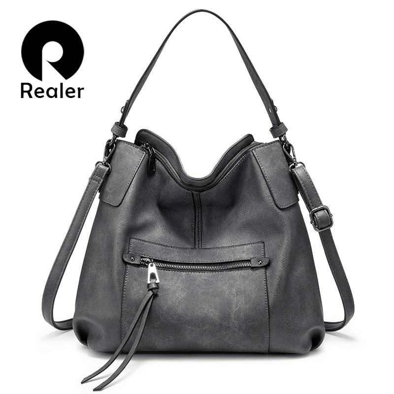 REALER Women Shoulder Bag Large Hobos Totes Bag Crossbody/messenger Bags For Women 2019 Luxury Handbag PU Leather Gray