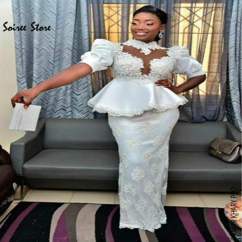 White African Mermaid Prom Desses With Peplumn High Neck Short Sleeve Full Length Lace Evening Dresses Formal Wear Elegant 2020