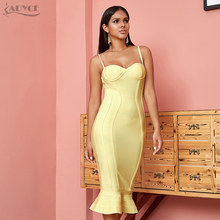 ADYCE 2020 뉴 여름 여성 Bodycon 붕대 드레스 섹시한 스파게티 스트랩 민소매 인어 클럽 드레스 미디 연예인 파티 드레스
