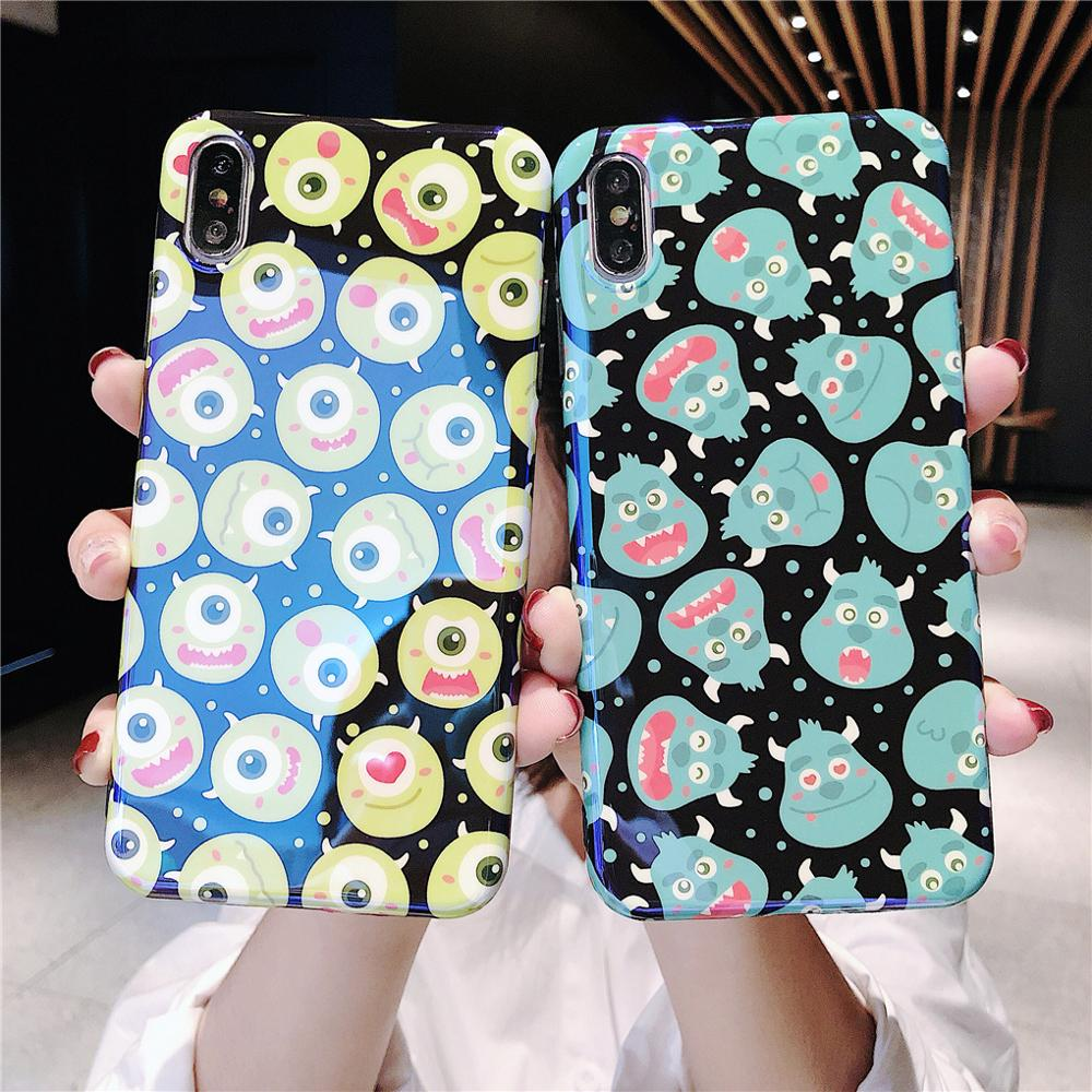 Funny Cartoon Cute Lovely Monster Dots Phone Case For iPhone X 8 7 6 6s plus XS 11 Pro Max XR Grip Holder Stand Back Cover Coque-in Fitted Cases from Cellphones & Telecommunications