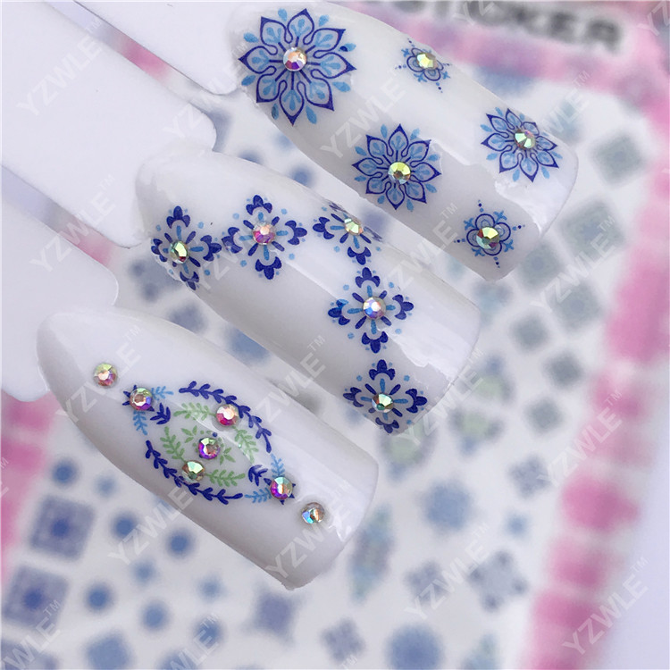 Currently Available Wholesale Ultra-Thin Gum Manicure Stickers Nail Sticker Nail Ornament Blue Ethnic-Style Small Flower F033