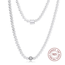 Beads & Pave Chain Necklaces Pendants 925 Sterling Silver Statement Necklaces for Women Fashion Jewelry collier femme Accesorios