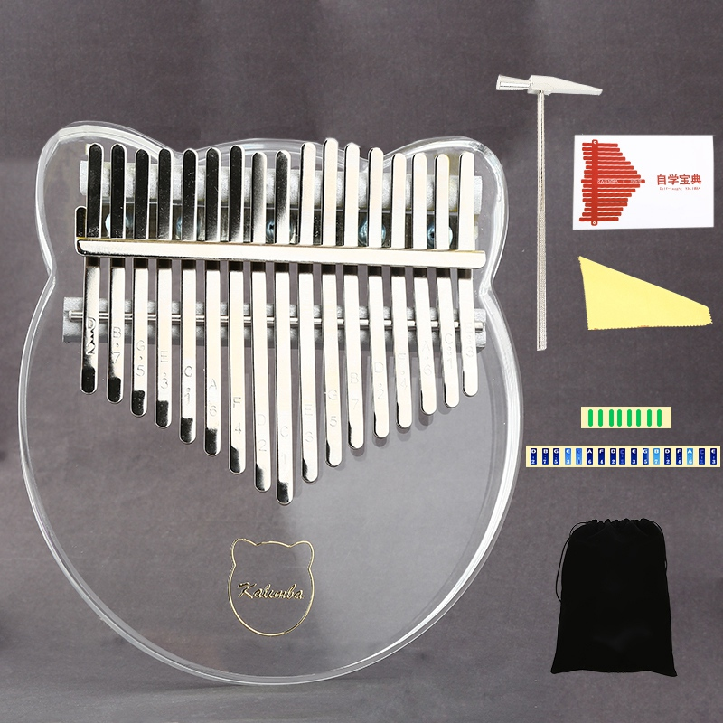 17 Key Kalimba Acrylic Thumb Piano 17 Keys Mbira Transparent Keyboard Instrument