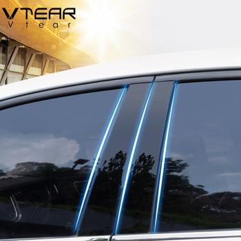 Vtear For Kia Rio 3 Rio 4 X-Line sticker window B C pillar cover Glossy black trim anti scratch Exterior car-styling accessories 1