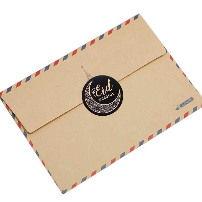 60/120pcs 4style Black Ramadan Eid Stickers Eid Mubarak Gift Box Label Paper Bag Seal Sticker Ramadan Kareem Al-Fitr Decoration