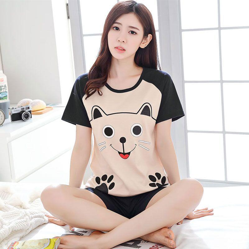 Hot Selling Qmilch Pajamas WOMEN'S Short Sleeved Shorts Cartoon Cute Smiley Footprints Cat Women's Home Wear Thin Set