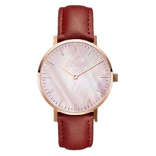 New Style Ladies Watches Marble Dial Dense Scale Pink Shell Leather Belt Quartz Watch Simple No Label Elegant Female Women