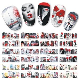 Image 1 - 12 projetos de água arte do prego transferência adesivo sliders bordo vermelho romântico desenhos dos namorados decalque manicure decorações JIBN373 384